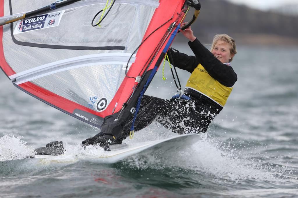 RSX, 956, Saskia Sills, Roadford<br /> Day 4, RYA Youth National Championships 2013 held at Largs Sailing Club, Scotland from the 31st March - 5 April. <br />  &copy;  Marc Turner /RYA http://marcturner.photoshelter.com/