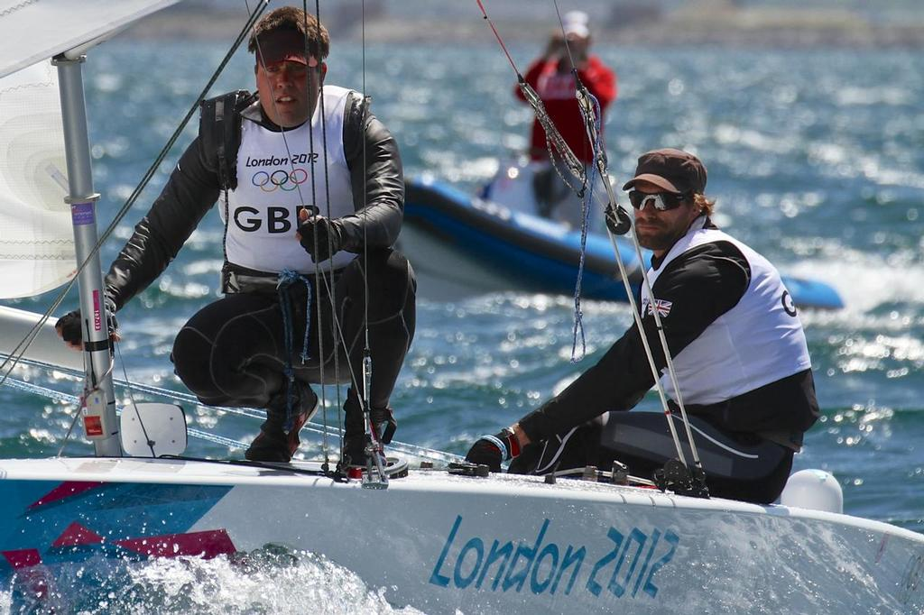 Andrew Simpson and Iain Percy racing at the 2012 Olympics in Weymouth © Richard Gladwell www.photosport.co.nz