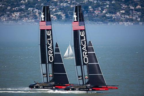 Oracle Team USA testing their two AC72's in San Francisco © Guilain Grenier Oracle Team USA http://www.oracleteamusamedia.com/