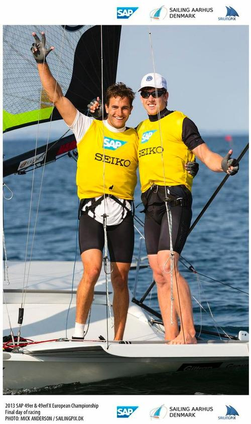 Burling and Tuke celebrate after winning the SAP 49er Europeans © Mick Anderson / Sailingpix.dk http://sailingpix.photoshelter.com/