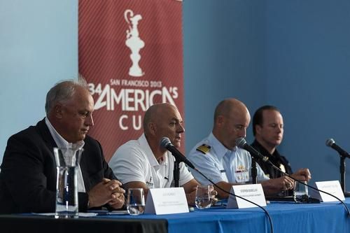 ACEA Press conference following Artemis AC72 capsize and loss of Andrew Simpson - Stephen Barclay (ACEA CEO) - Ian Murray (ACRM CEO) - Captain Matt Bliven (US Coast Guard) - Captain Tom Cleary (SFPD) / San Francisco (USA)  © Guilain Grenier Oracle Team USA http://www.oracleteamusamedia.com/