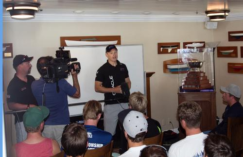 James Spithill visits the Gov Cup teams in July 2012 © Mary Longpre