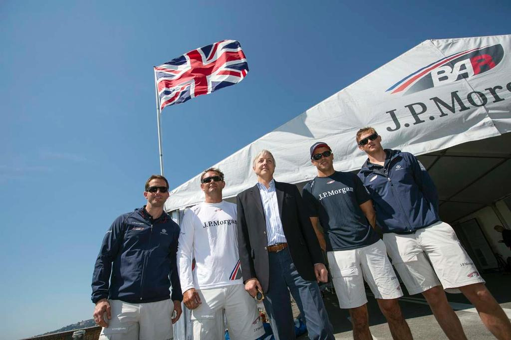 America's Cup World Series Naples/ ACWS Naples. Italy. Christopher Prentice CMG British Ambassador to Italy with Ben Ainslie skipper of the J.P.Morgan BAR AC45 and his crew © Lloyd Images/J.P.Morgan BAR http://bar.americascup.com/