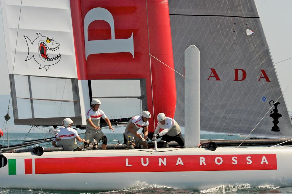 Luna Rossa Piranha place forth in the first race and second in the second race, and are third for the day on the first day of racing at the ACWS in Naples Italy on April 18, 2013 at the ACWS in Naples Italy. ©  SW