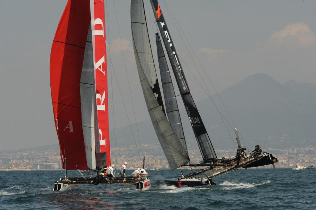 Energy Team wins the second Fleet race but Luna Rossa Swordfish gets a DNF on racing day here in Naples Italy April 19, 2013 for the ACWS. ©  SW