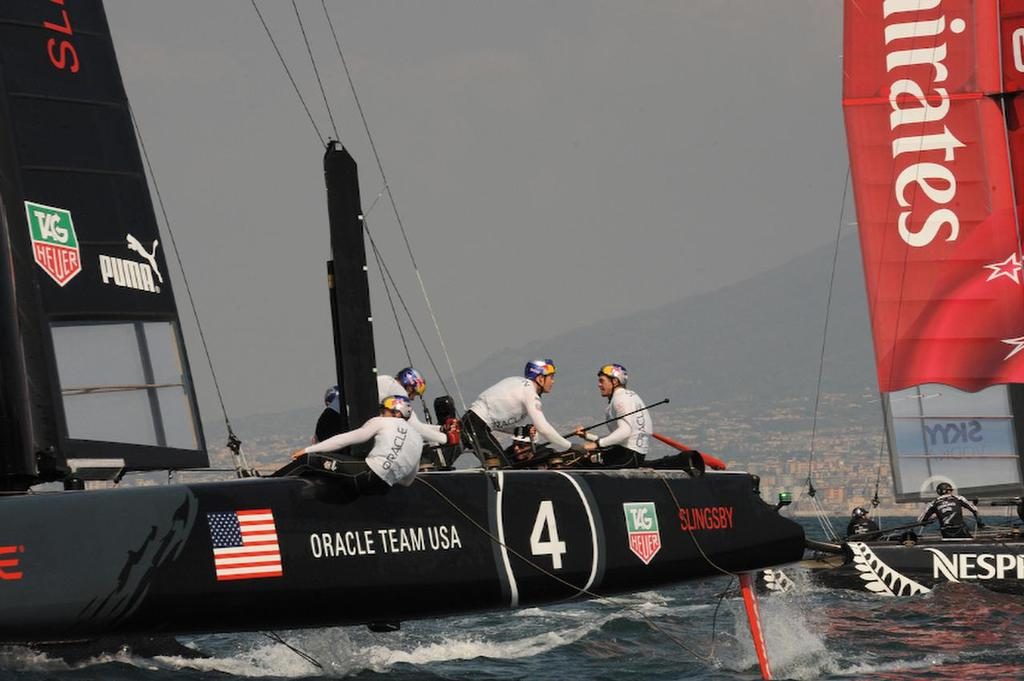 Oracle Team USA Slingsby is holding steady and going for the position of first place for the day in Naples Italy for the ACWS April 19, 2013. ©  SW