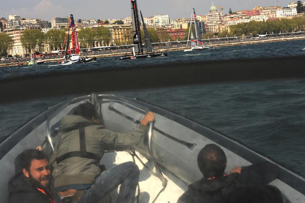 Photographers on board stopped shooting when  the media RIB was at running speed on the Bay of Napoli in Italy on April 19, 2013 at the ACWS racing. ©  SW