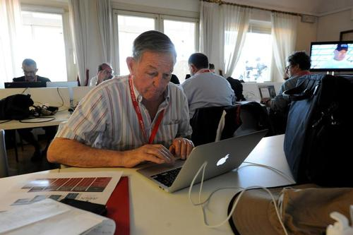 Bob Fisher working at the Media Center at the ACWS in Naples Italy April 18, 2013 on the first day of racing. ©  SW