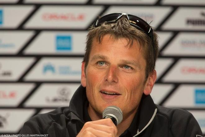 Dean Barker at the Louis Vuitton Cup - End of Round Robin press conference  © ACEA - Photo Gilles Martin-Raget http://photo.americascup.com/