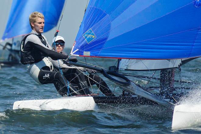 New Zealand team Gemma Jones and Jason Saunders: 'It was tricky sailing' - 2013 Nacra 17 World Championship © Laurens Morel