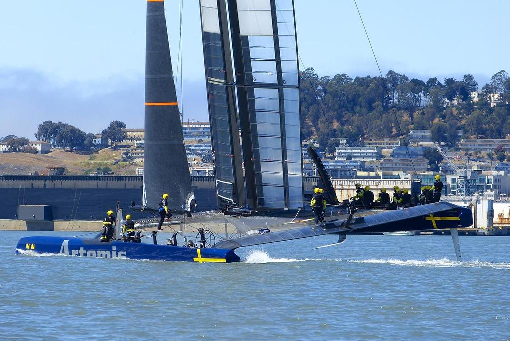 First hull flying - Artemis Racing - Blue Boat - First Sail, July 24, 2013 © John Navas