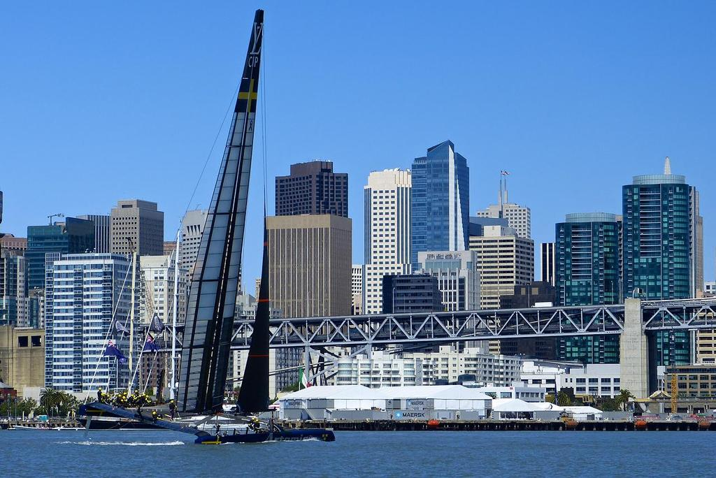 Sailing in the harbour - Artemis Racing - Blue Boat - First Sail, July 24, 2013 © John Navas