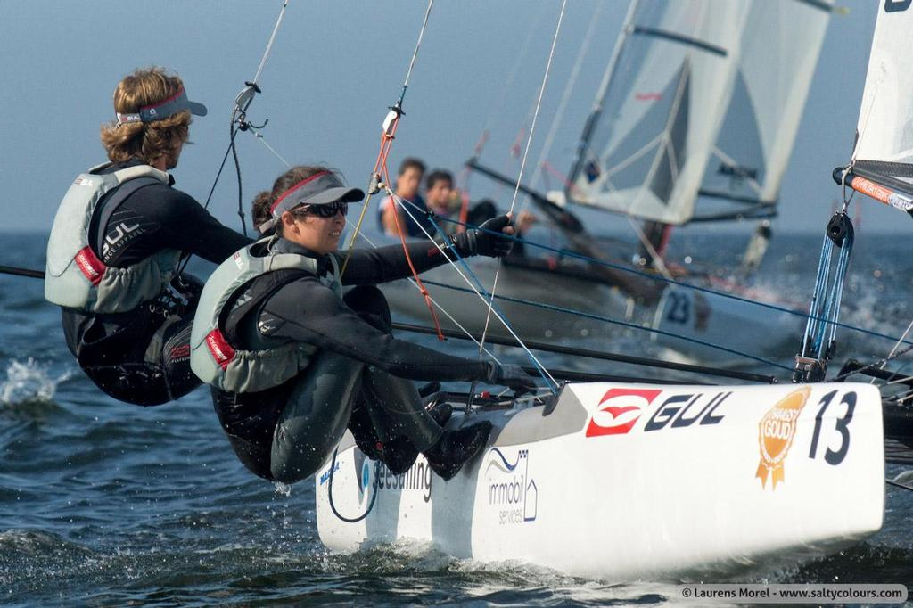 Bissaro and Sicouri in action - 2013 Nacra 17 World Championship © Laurens Morel