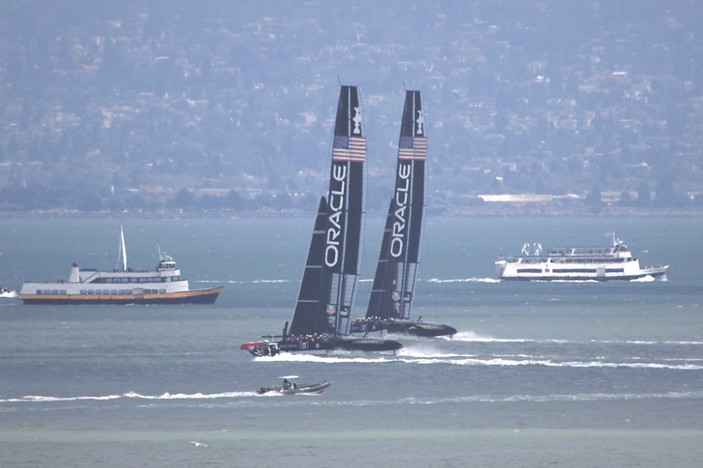 Both Oracle boats do some one-on-one testing upwind - America's Cup © Chuck Lantz http://www.ChuckLantz.com