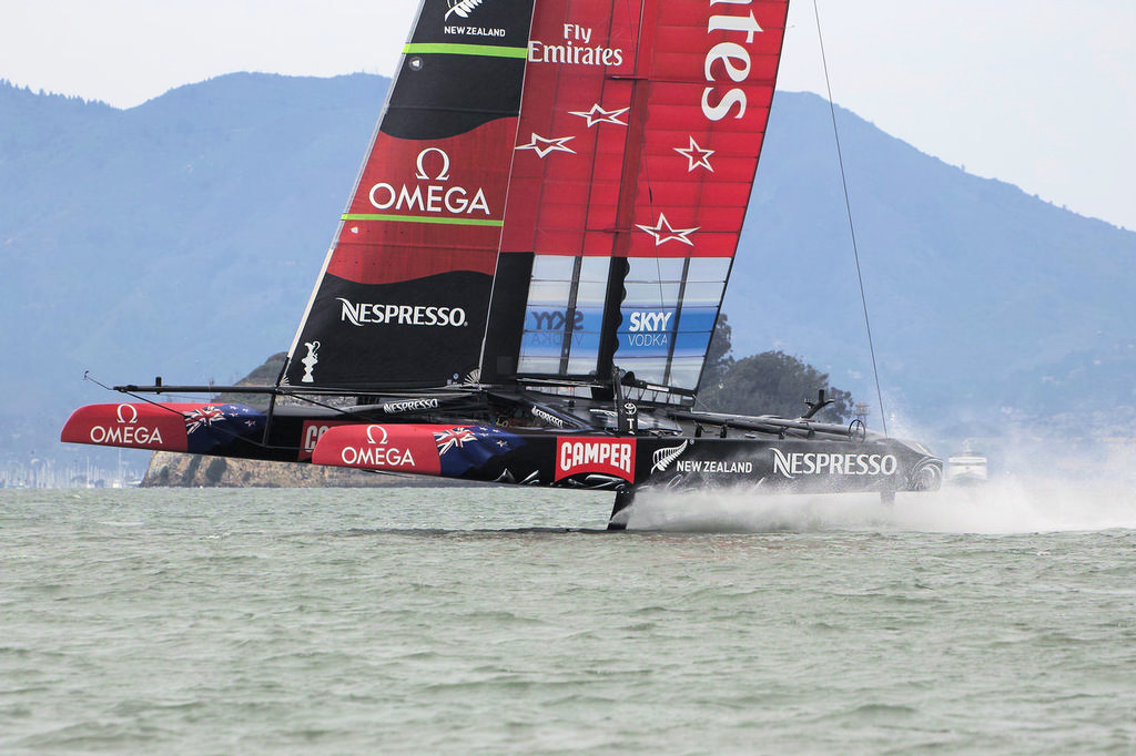 ETNZ flying towards the finish, with Luna Rossa far behind - America's Cup © Chuck Lantz http://www.ChuckLantz.com
