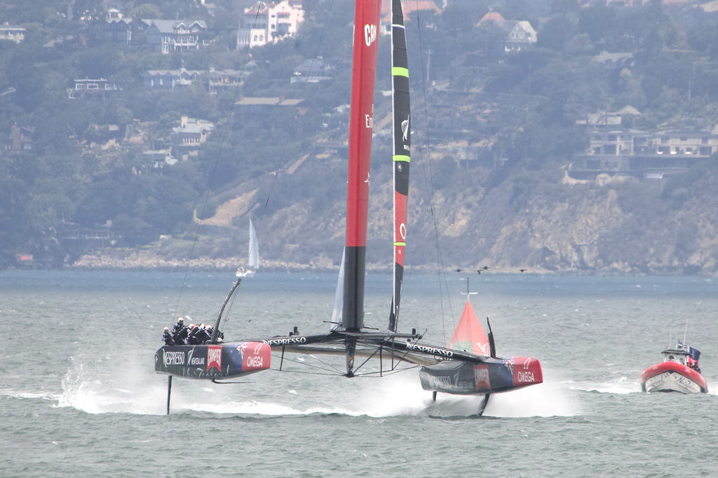 ETNZ blasts towards the St. Francis yacht club and the first mark. - America's Cup © Chuck Lantz http://www.ChuckLantz.com