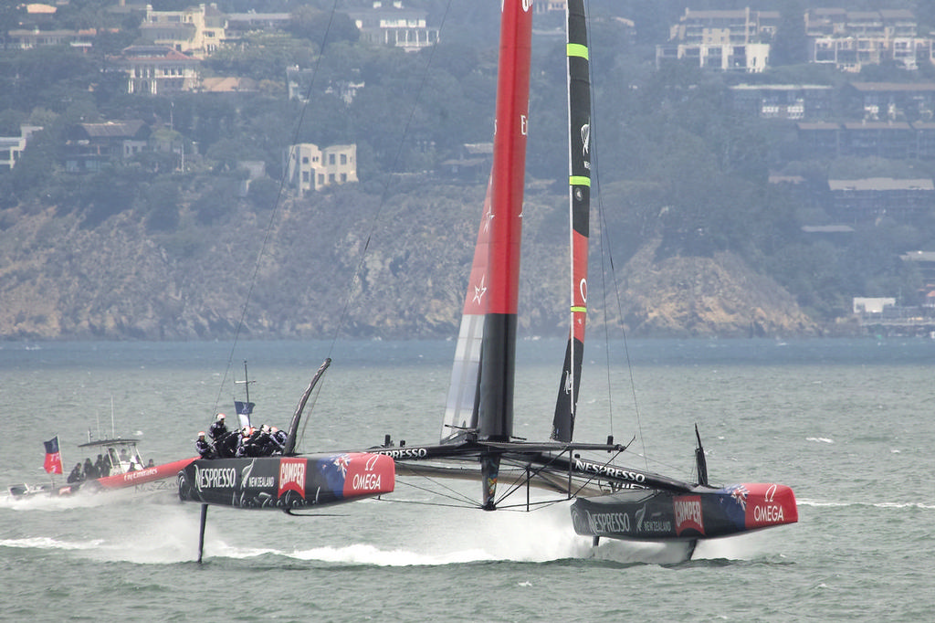 ETNZ begins the first manuever of their gybe sequence.  - America's Cup © Chuck Lantz http://www.ChuckLantz.com