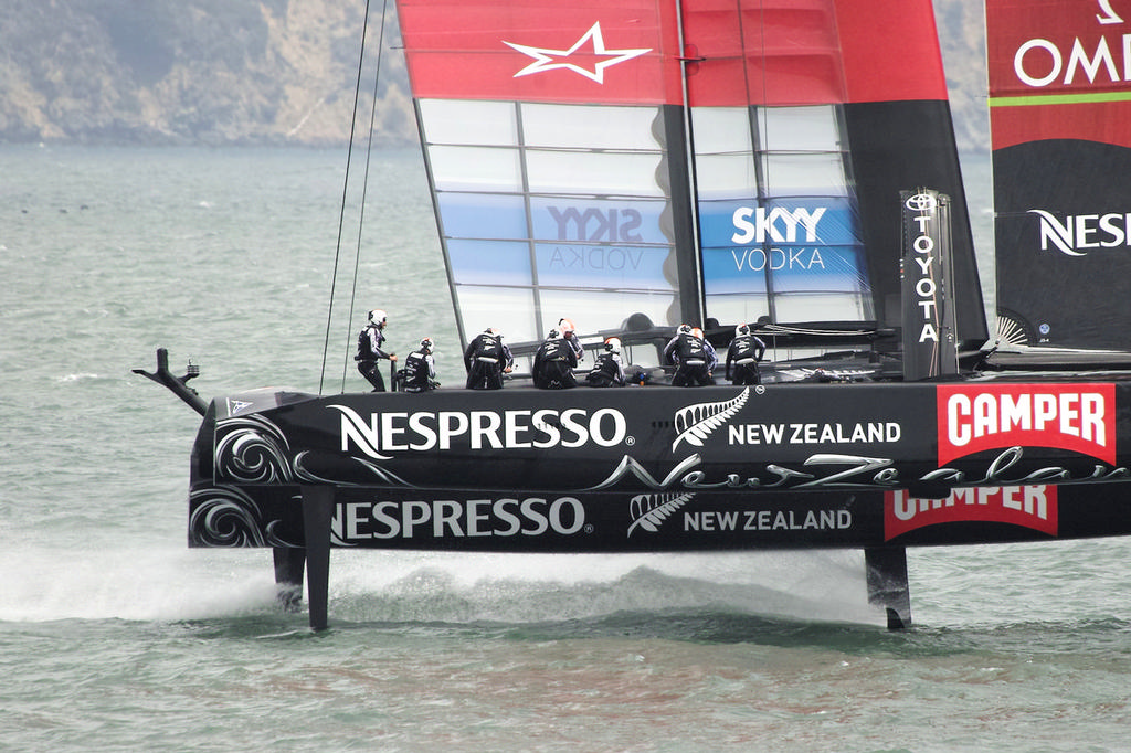 ETNZ crew - cool, calm and collected during the gybe.  - America's Cup © Chuck Lantz http://www.ChuckLantz.com