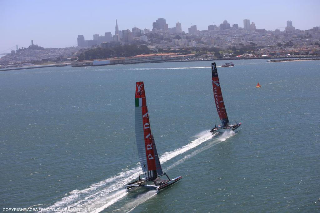 Luna Rossa chases Emirates Team NZ - Louis Vuitton Cup, Round Robin, Race Day 4, Luna Rossa vs ETNZ © ACEA - Photo Gilles Martin-Raget http://photo.americascup.com/