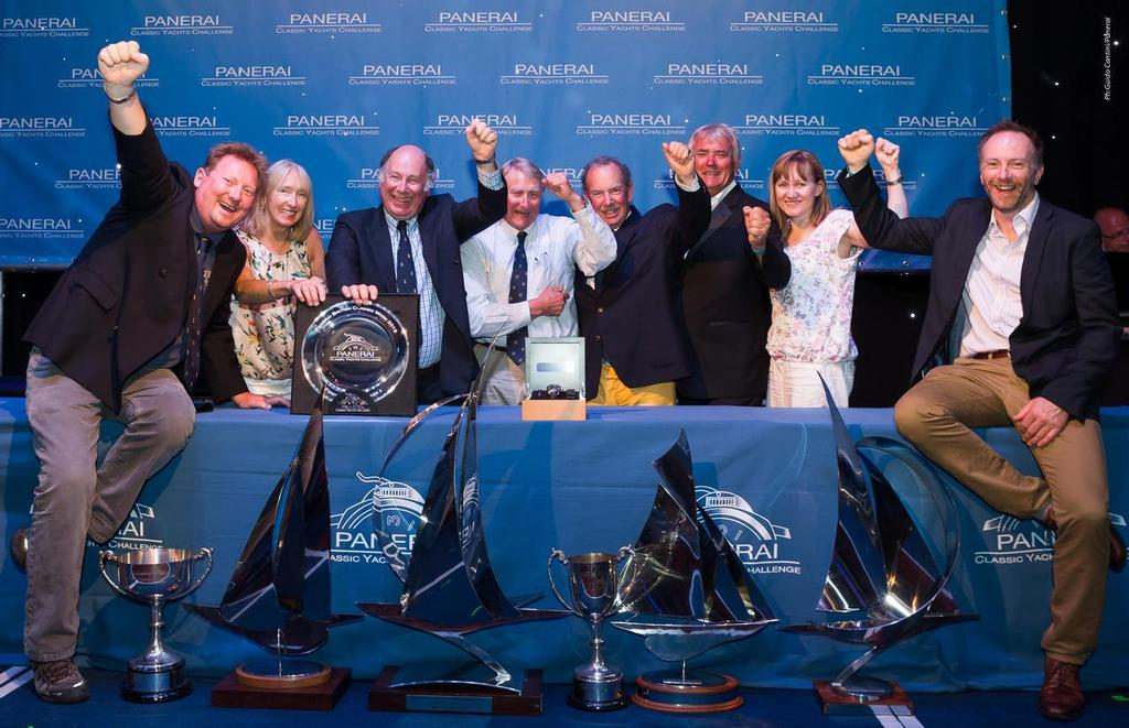 2013 Panerai British Classic Week Cowes, United Kingdom- Saskia, owned by Murdoch McKillop, in the photo with his crew and all the trophies won for the regatta<br />  &copy; Panerai / Guido Cantini / seasee.com
