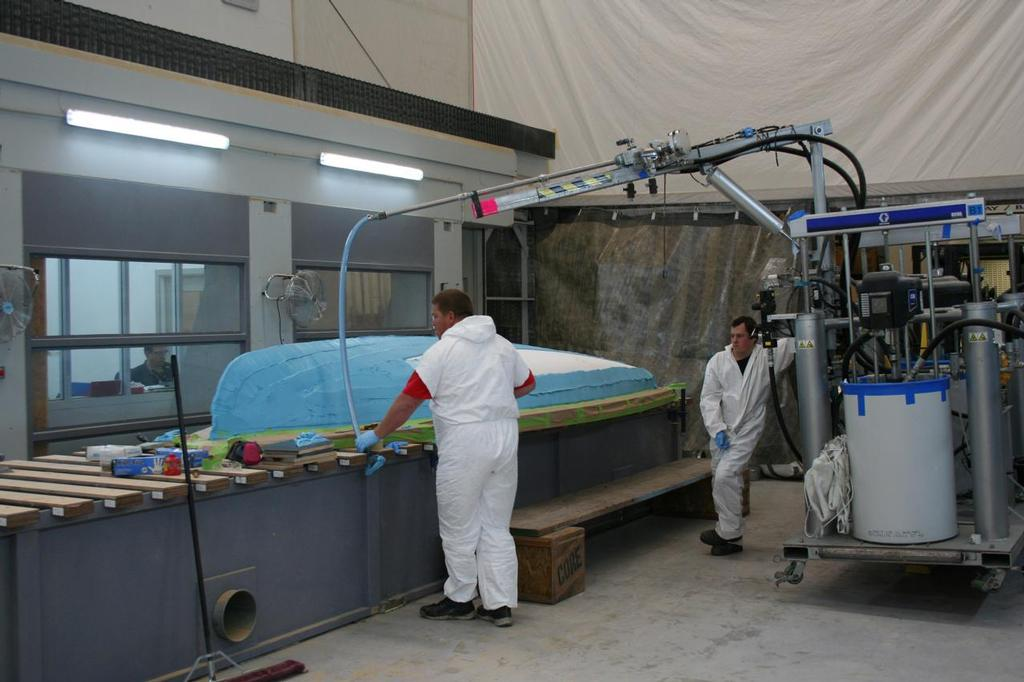 470 Mould - Epoxy paste being applied to plug prior to machining - Mackay Boats<br /> <br />  &copy; Mackay Boats http://www.mackayboats.com