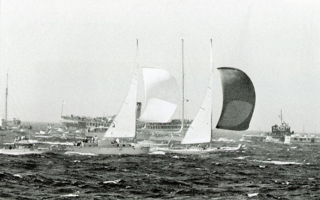 Gretel surfs through to windward of Weatherly in the 1962 America's Cup - Maritime Productions Collection © Paul Darling Photography Maritime Productions www.sail-world.com/nz