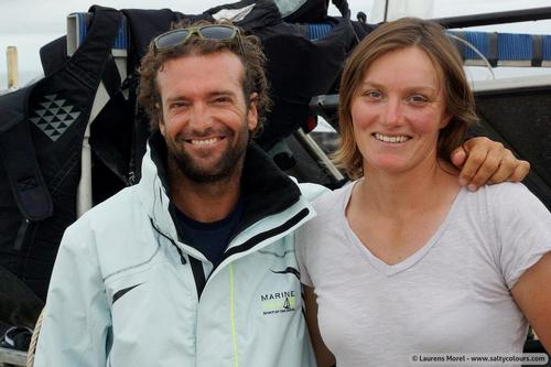 First ever Nacra 17 World Champions Billy Besson and Marie Riou - 2013 Nacra 17 World Championship © Laurens Morel