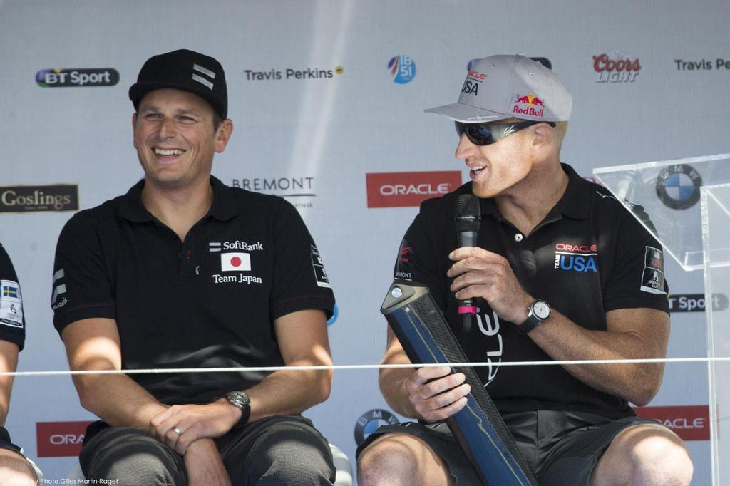 Jimmy Spithill holds a legal AC45 Kingpost in Portsmouth presented by Emirates Team NZ © ACEA /Gilles Martin-Raget