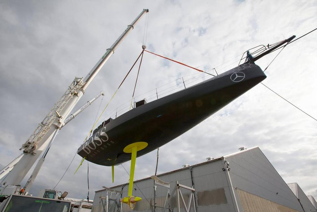 Without her DSS foils fitted Hugo Boss shows another option at the conservative end of the scale. © Alex Thomson Racing