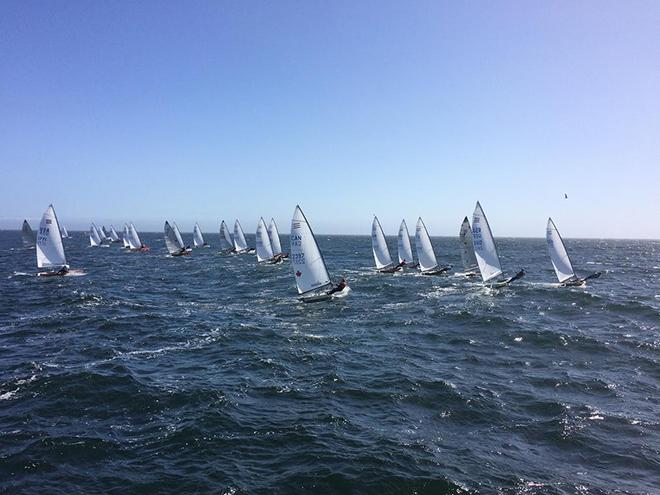 Fleet in action at 2016 Contender World Championships © Rick Linkemyer