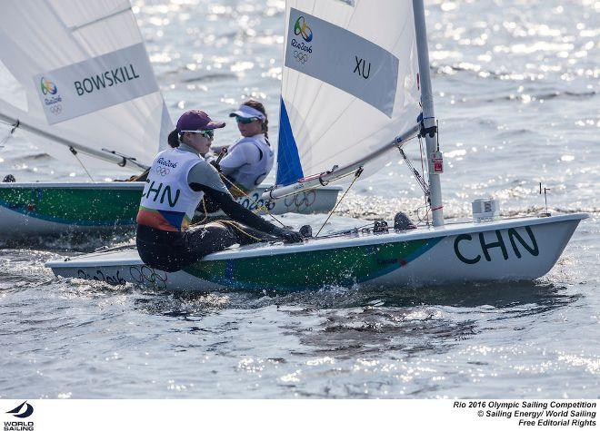 China's Lilly Xu leads Canada's Brenda Bowskill around the top mark at the London 2012 Olympics. © Sailing Energy / World Sailing