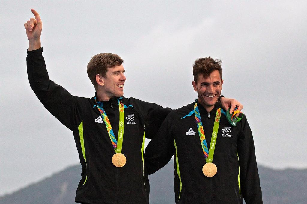 Peter Burling and Blair Tuke  at the 49er Olympic Medal presentation - 2016 Sailing Olympics © Richard Gladwell www.photosport.co.nz