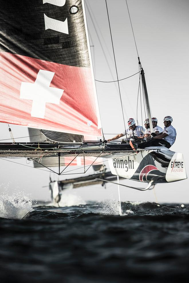 Act 1, Extreme Sailing Series Muscat – Last season's victor Alinghi currently sits in second on the 2017 leaderboard following a consistent performance in Muscat but one that saw them bag only five wins to SAP Extreme Sailing Team's nine © Lloyd Images http://lloydimagesgallery.photoshelter.com/