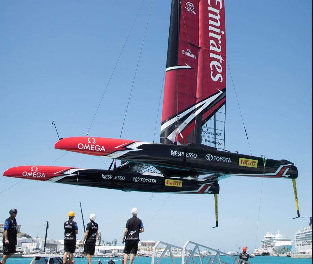 Emirates Team New Zealand breaks a rudder in Practice Session © Emirates Team New Zealand http://www.etnzblog.com