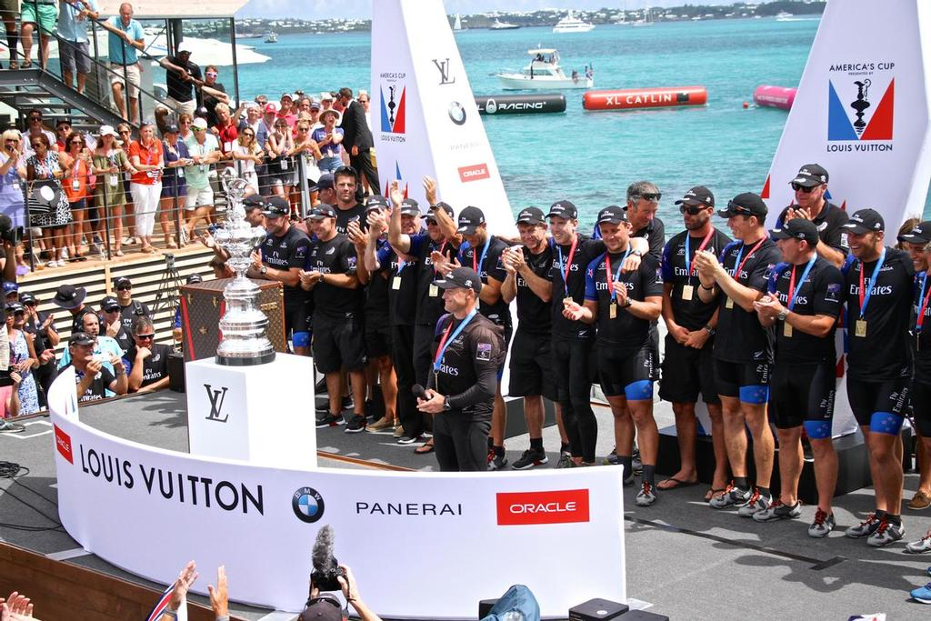 Skipper Glenn Ashby speaks as Emirates Team NZ wins the  America's Cup 2017, June 26, 2017 - Great Sound Bermuda photo copyright Richard Gladwell www.photosport.co.nz taken at  and featuring the  class