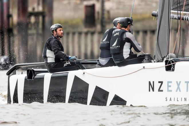 Act 5, Extreme Sailing Series Hamburg – Day 2 – A day of changing fortunes for NZ Extreme Sailing Team saw them drop from second after the penultimate race to finish the day in fifth. ©  Lloyd Images