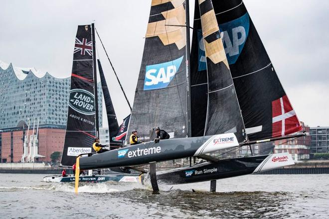 Act 5, Extreme Sailing Series Hamburg – Day 3 – Current season leader SAP Extreme Sailing Team enters the final day of Act 5 in third place. ©  Lloyd Images