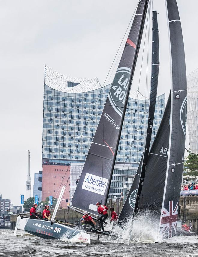 Act 5, Extreme Sailing Series Hamburg – Day 3 – Despite claiming its first bullet since Act 2, Qingdao, Land Rover BAR Academy dropped from second to sixth overall. ©  Lloyd Images
