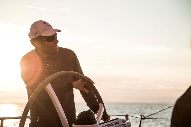 Leg Zero, Plymouth to St. Malo – Light wind on board Dongfeng – Volvo Ocean Race ©  Martin Keruzore / Volvo Ocean Race