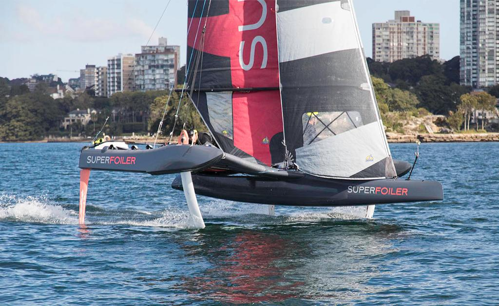 Already successfully gybing on foils, this will be a very exciting craft in race mode. - SuperFoiler ©  John Curnow