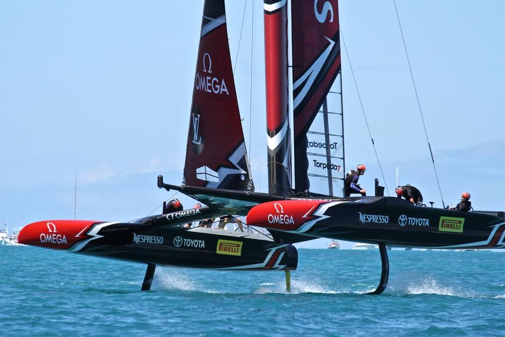 The AC 75 will struggle to match the performance of the AC50 in light winds - Race 8 35th America's Cup Match © Richard Gladwell www.photosport.co.nz