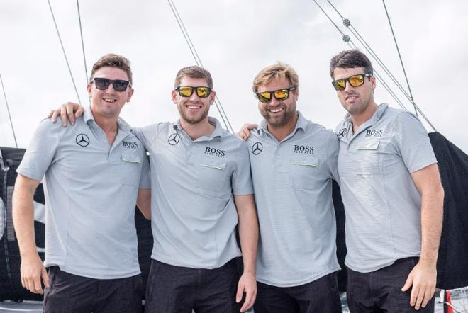 Alex and the Middle Sea Race crew. L-R Will Jackson, Jack Trigger & Nin O'Leary © Alex Thomson Racing