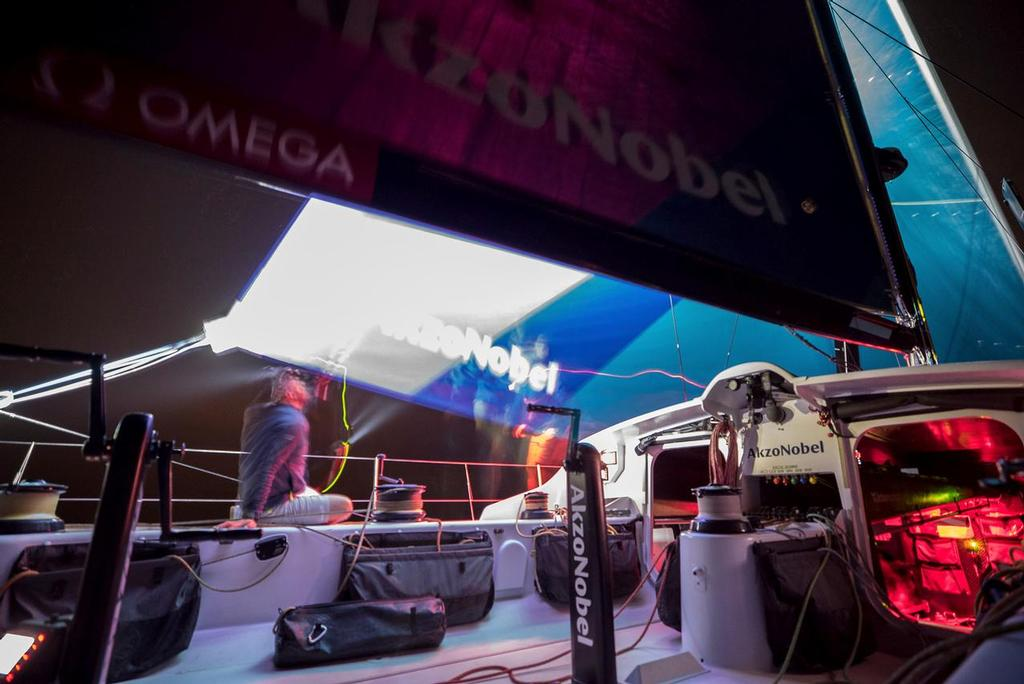 Prologue start on-board AkzoNobel. Volvo Ocean Race. 08 October, 2017 ©  James Blake / Volvo Ocean Race