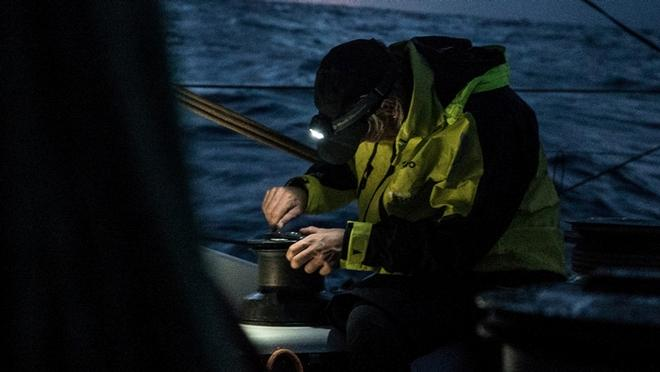 Leg 2, Lisbon to Cape Town, Abby Ehler fixing a winch at night on Team Brunel – Volvo Ocean Race ©  Rich Edwards / Volvo Ocean Race
