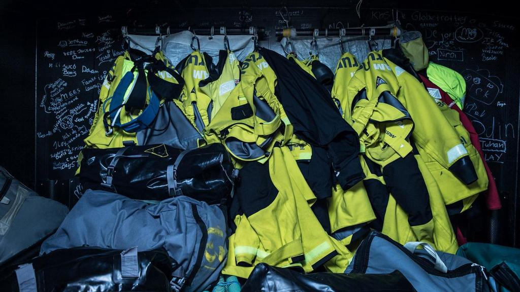 Leg 2, Lisbon to Cape Town, The foulies drying on board Brunel. Volvo Ocean Race. 09 November, 2017 ©  Rich Edwards / Volvo Ocean Race
