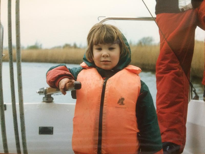 A young Susie Goodall at the helm - photo © Susie Goodall Racing