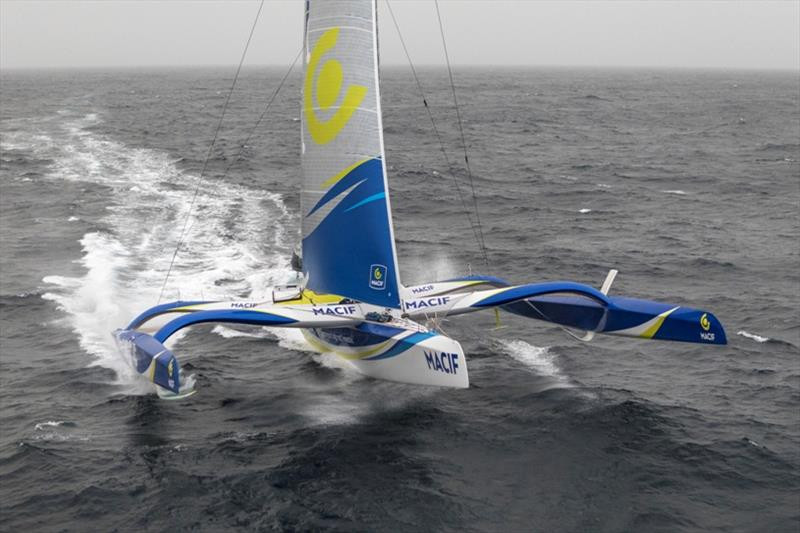 Aerial images of Francois Gabart onboard Ultim MACIF, training before the Round the Word Solo Handed Record, off Belle Ile, on October 16th - photo © Jean-Marie Liot / ALeA / Macif