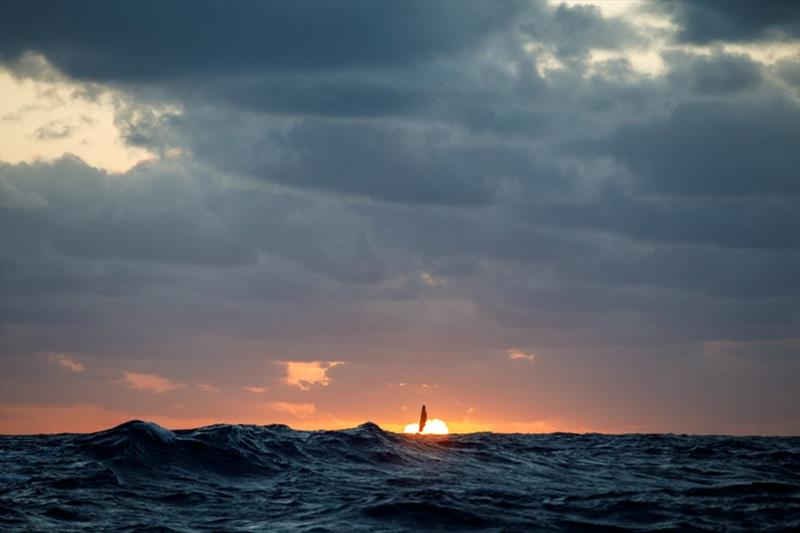 Volvo Ocean Race Leg 4, Melbourne to Hong Kong, day 03, years the view towards sunset on board Vestas 11th Hour as MAPFRE pursues. - photo © Amory Ross / Volvo Ocean Race