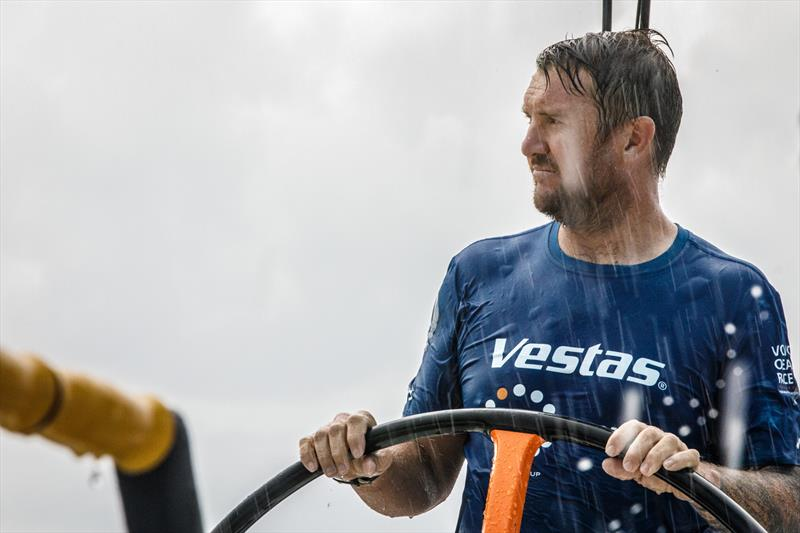 Leg 4, Melbourne to Hong Kong, day 11, Phil Harmer driving in the raind on board Vestas 11th Hour. - photo © Amory Ross / Volvo Ocean Race