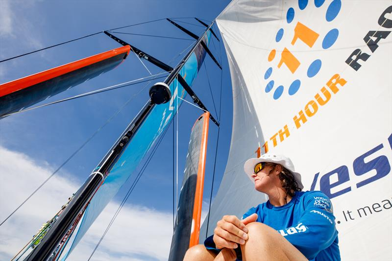 Leg 4, Melbourne to Hong Kong, day 11, Stacey Jackson on the bow in light sailing conditions after the passing of a rainstorm on board Vestas 11th Hour. - photo © Amory Ross / Volvo Ocean Race